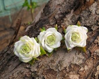 Green rose Wedding hair pins Bridal hair accessory Vintage style Wedding bobby pins Victorian wedding hair piece Rose hairpiece Flower pin