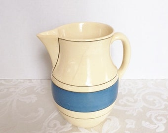 "Vintage Roseville Pottery Utility Ware 8"" Blue Stripe Pitcher Primitive Country Farmhouse  Kitchen Decor 1920's 1930's  *Damaged*"