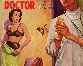 pulp art print Love-Hungry Doctor —  vintage pulp paperback cover repro