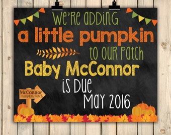 Fall Pregnancy Announcement Chalkboard Poster, Adding Pumpkin to Our Patch, Pumpkin Pregnancy Announcement, October Autumn Pregnancy DIGITAL