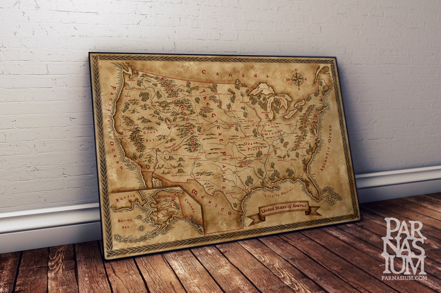 fantasy map of united states wall art print wall decor. Black Bedroom Furniture Sets. Home Design Ideas