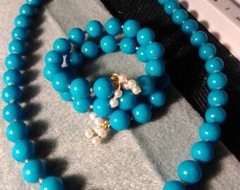 Turquoise Beaded Necklace Bracelet Set
