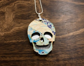 Blue Floral Mirror Skull Necklace