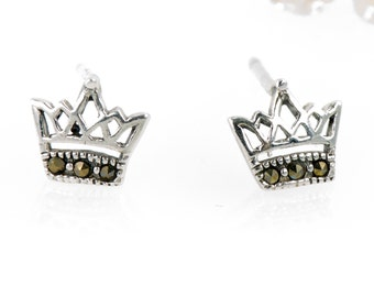 Petite Crown Stud Earrings, 925 Sterling Silver, Marcasite Earrings, Crown Earrings, Queen Crown, Silver Earrings, Gift For Her