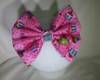 Pink Sparkle Cupcake Hair Bow