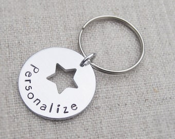 Personalized star keychain, customized star keyring, gift for him, mens custom keychain, gift for her, best friend gift, gift for girlfriend