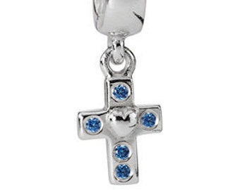 Pandora Cross Dangle with Blue Zirconia Sterling Silver S925ALE - 790355CZB