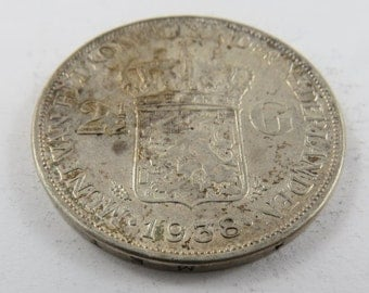 Netherlands 1938 Silver Two and a Half Gulden Coin.