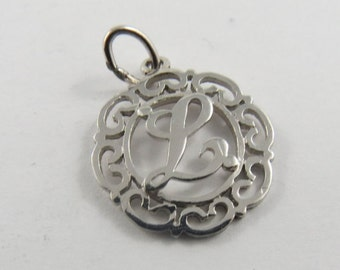 "Initial ""L"" Silver Charm of Pendant."
