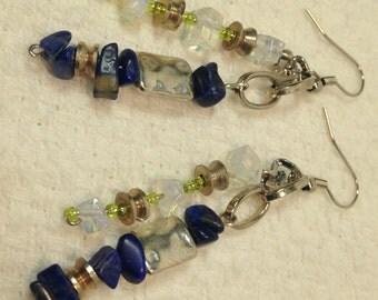 Handmade Seahawks Football NFL Genuine Blue Lapis White Opal Silver dangle Sports earrings jewelry