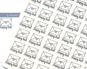 Happy Mail Stickers, Mail Stickers, Hand Drawn Stickers, Envelope Planner Stickers, fits Erin Condren, Delivery Stickers, bujo Stickers