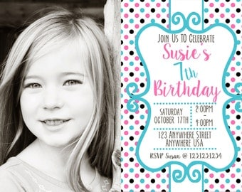 Chic Pink/Turquoise/Gray Girl Birthday Invitation - For One Photo - Several Color Combos - Any age!