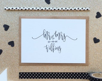 Personalised Wedding Card - Personalised Engagement Card - Mr and Mrs - Anniversary Card - Couples Card - Black and White Script Calligraphy