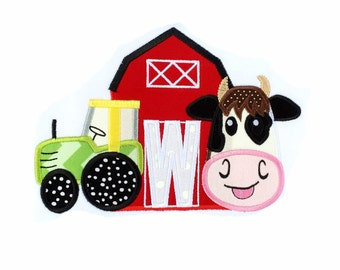 Farm Two Birthday Applique Design with Cow, Barn and Tractor / Second Birthday / 5x7 Size Only