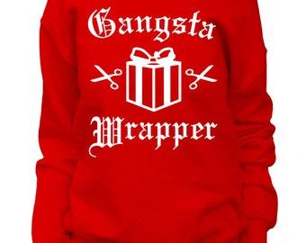 Gangsta Wrapper. Womens Christmas Sweatshirt. Off shoulder Slouchy. Funny Christmas Sweater