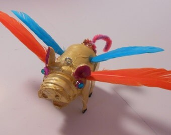 "3"" gold flying pig ornament"