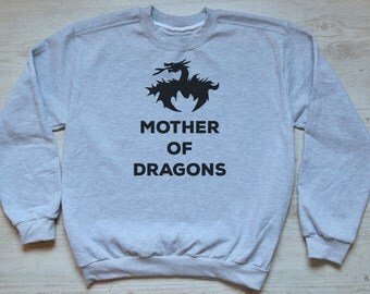 Mother of dragons sweater slouchy sweatshirt soft vintage womens mens sweatshirt tv show tee Game of Thrones sweater heather light gray