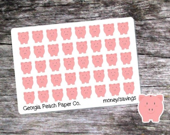 Piggy Bank/Money Savings Planner Stickers - Made to fit Vertical or Horizontal Layout