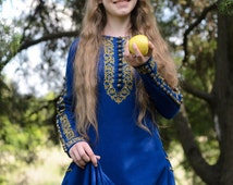 "Medieval dress ""Sapphire"", Elven dress, Historical dress, Games of thrones, Fantasy Dress, Fairy dress, Cosplay."