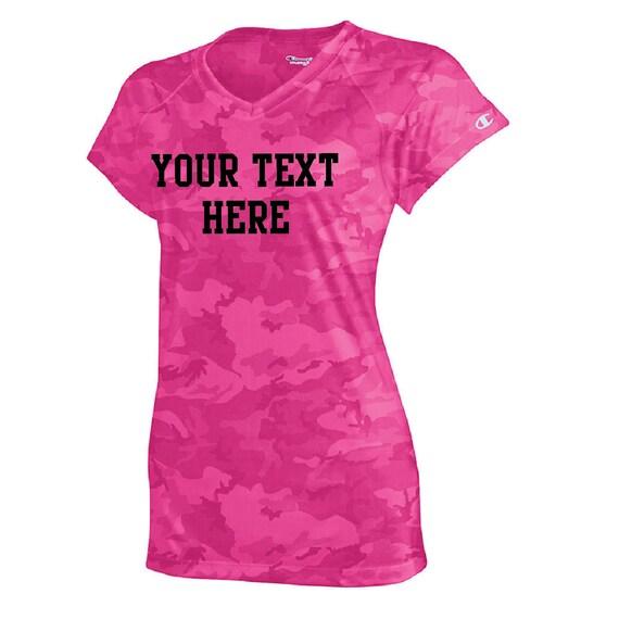 Items similar to custom pink camo v neck t shirt vneck tee for Make your own gym shirt