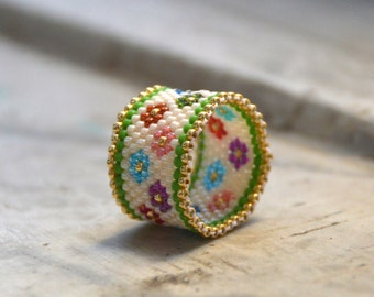 Seed bead ring,colorful ring, peyote ring, beaded ring, band ring, middle finger ring, boho style, flower ring, handmade ring, everyday ring