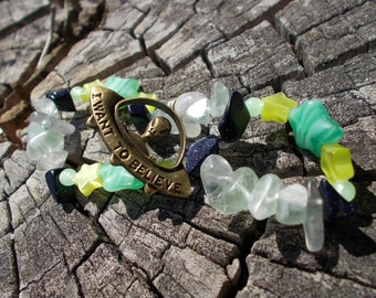 Alien Theme 'I want to believe' Space Bracelet ( Flourite and Blue Goldstone with Stars )