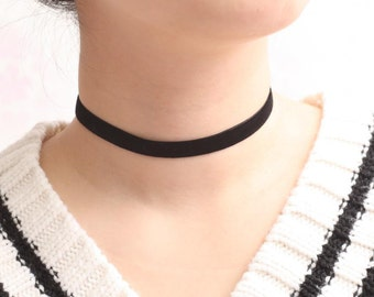 Black Velvet Choker, Basic Velvet Choker, Simple Choker Necklace, String Necklace, Base Necklace, Young Girl Necklace, Trendy Choker