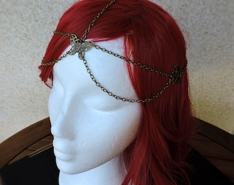 Chain headdress, Hair chain, Chain headband, Bronze head chain,Bohemian accessories,Steampunk,butterfly headband,Metal headband,Gear Jewelry
