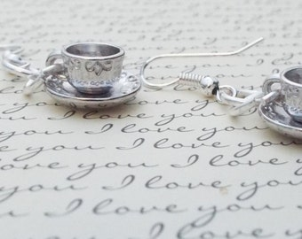Whimsical Silver Tea Cup Earrings, Gift for Her,Women's Gift, Teacup and Saucer Earrings
