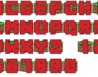 Mine Block Inspired Birthday Banner, Digital, DIY, Printable
