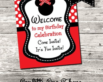 Instant Download Red Minnie Mouse Welcome Birthday Sign Digital Printable