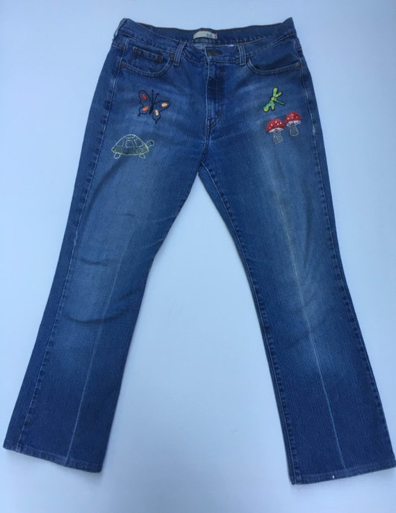 Patched denim embroidered levis by savingmyvintageheart on