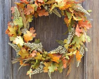 Fall Wreath, Leaf Wreath, Fall Leaf Wreath, Oak Leaf Wreath, Autumn Wreath, Orange Wreath, Natural Wreath, Fall Foliage, Front Door Wreath