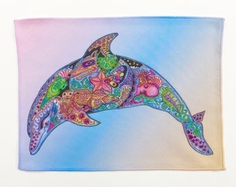 Microfiber Cloth Wipes Dolphin Animal Spirits by Sue Coccia Native American Art Microfiber for Glasses, Computer Screens Ipads & Phones USA