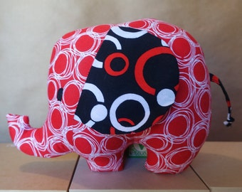 Stuffed Elephant Toy in Red & Black