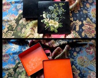 Original Victorian lacquered hankies box. Summer bouquet. 1890s