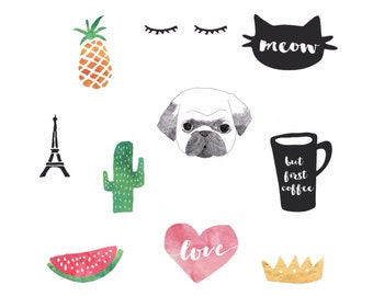 10 Stickers Pug Cat Pineapple But First Coffee Love Watermelon Cactus Queen Paris Eiffel Tower Sticker Set Pack KYOUSTUFF