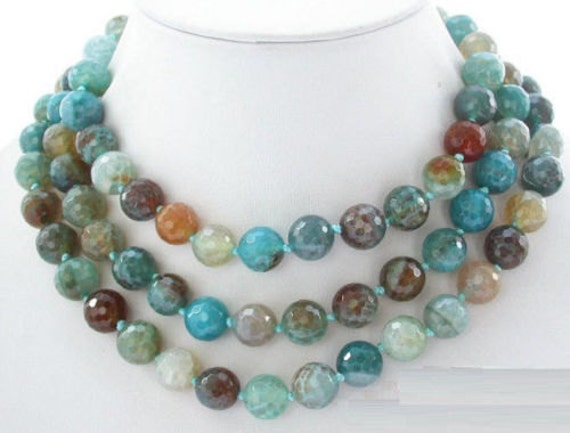 """Gorgeous knotted 10mm blue polychrome agate necklace 50"""""""