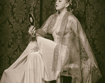 Isabelle Epoque Signed Ziegfeld Follies Portrait in Lace with Hand Mirror