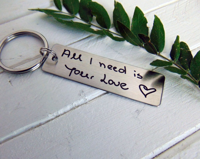 Handwritten Keychain - Your Actual Handwriting or Font Option _Design Your Own Custom Keychain_ Rectangle, Stainless Steel, Laser Engraved