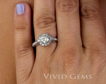 Light Champagne Diamond Engagement Ring 1.92 total carats, 18k white gold
