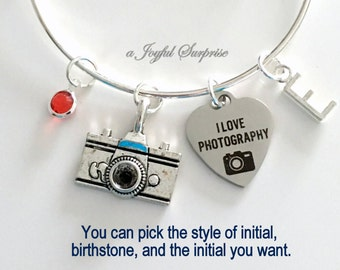 Photographer's Bracelet, Photography Gift Photography Student Grad Camera Jewelry Silver Charm Bangle initial birthstone letter Personalized