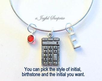 Calculator Bracelet, Math Degree Gift, High School Teacher Jewelry Charm Bangle Math Student Grad Silver Bangle Jewelry initial Custom