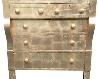 Hollywood Regency Dresser | Gilded Antique Chest | Gold Leaf Antique Empire Dresser | Gold Dresser | 19th Century Dresser | Gold Leaf Chest