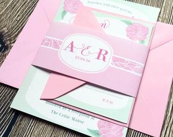 Peonies Wedding Invitation Bundle / Spring Summer Wedding