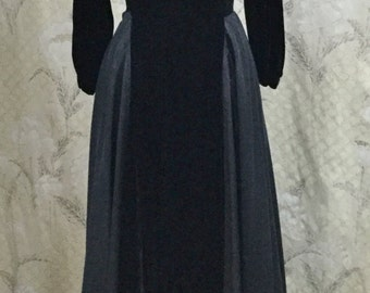 Stunning Black Velvet Evening Gown With Velvet Jacket, Black Ball Gown