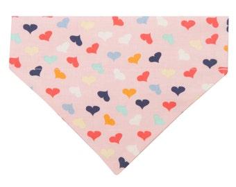 Pink Dog Bandana with Hearts (Small)