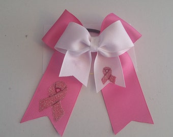 Large Breast Cancer Awareness Hair Bow