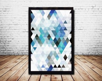 A1 Poster Geometric Wall Art Prints Posters Digital Print Digital Download  Abstract Prints Abstract Art Blue Wall Art Print