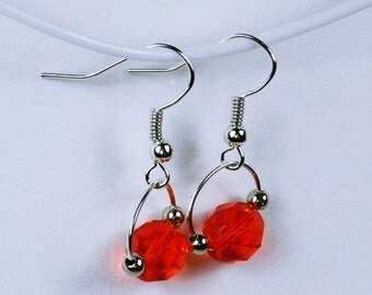 Earrings with red beads Silver earrings red passion pendant earrings jewelry